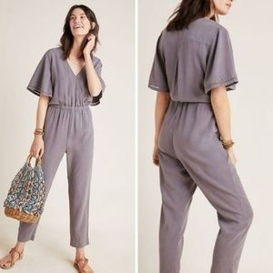 Anthro Cloth & Stone Gulpiyuri Grey Jumpsuit